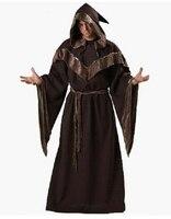 Halloween Costumes Adult Mens Gothic Wizard Costume European Religious Men Priest Uniform Fancy Cosplay Costume for Men