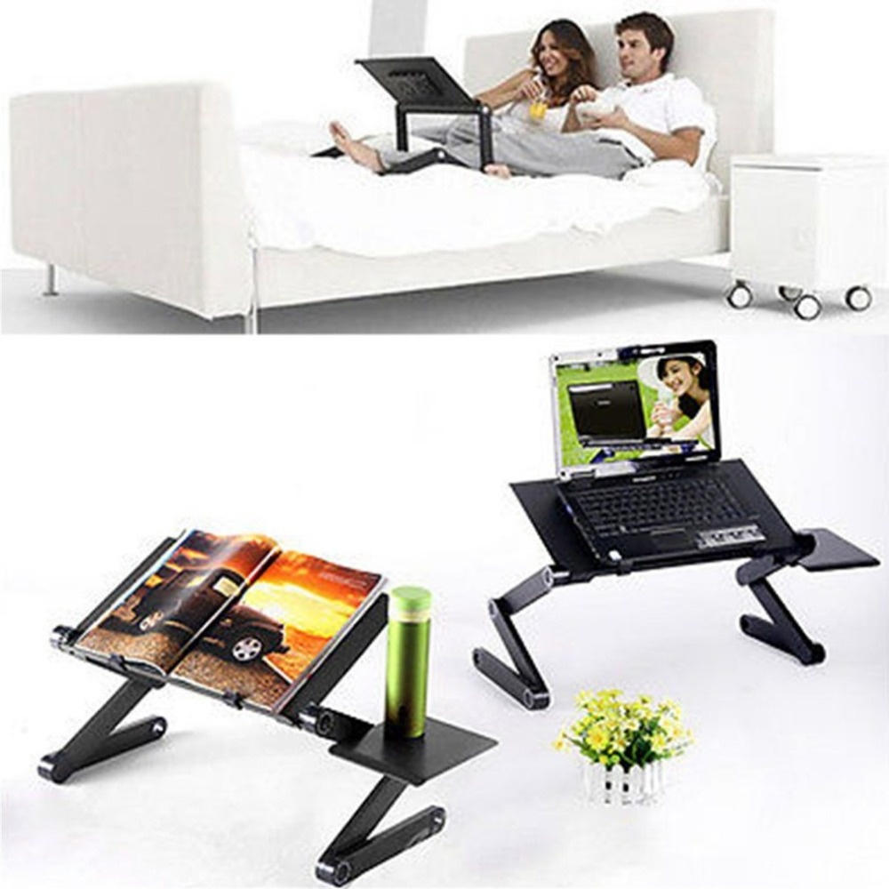 Portable Foldable Adjustable Laptop Desk Computer Table Stand Tray Notebook Lap PC Folding Desk Table With Mouse With Fan
