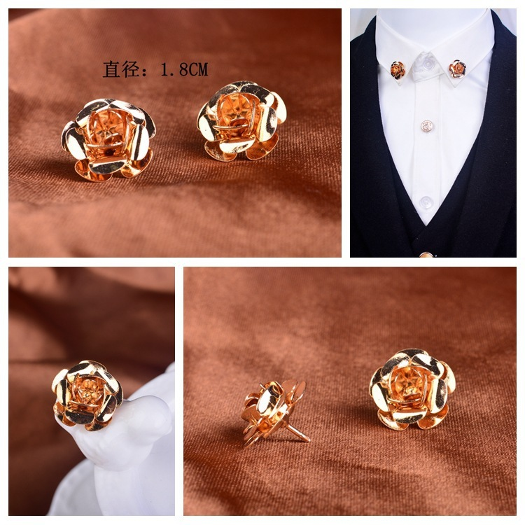 NEW Golden Rose Bow Tie Brooch Suit Shirt Neckline Pins Collar Angle Accessories Women Men Jewelry Party Wedding Business