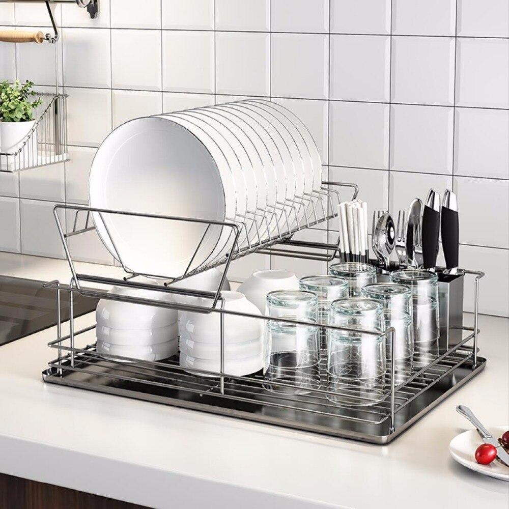Livraison gratuite cuisine stockage rack étagère en acier inoxydable bol rack drain rack étagère plateau plat stockage rack