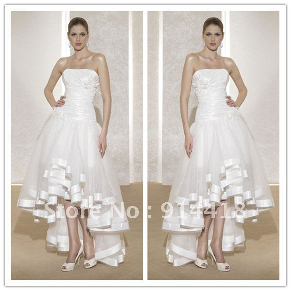 Custom High Low Wedding Dresses Strapless White Taffeta Organza Flowers Pleated Short Front Long Back Under 100 In From