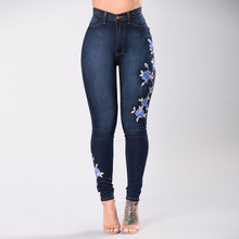 2019 Casual Women Embroidered Jeans Pant Slim Stretch Cotton Denim Pants Woman High Waist Wash Skinny Pencil Pants Plus Size brand jeans fashion women pants plus size stretch skinny high waist sexy pant woman blue pencil casual slim denim clothing k095