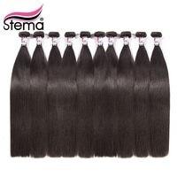 Stema бразильские волосы плетение прямые 10 шт./лот/Необработанные 100% человеческих волос расширение натуральный цвет бесплатная доставка