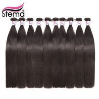 Stema Brazilian Hair Weave Straight 10Pcs/lot Unprocessed 100% Human Virgin Hair Extension Natural color Free Shipping