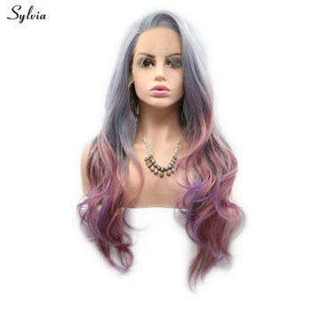 Sylvia Mermaid Wig Mix Color Grey Blue Pink Purple Pastel Wig Long Wavy Hair Synthetic Lace Front Wigs For Women Natural Hair