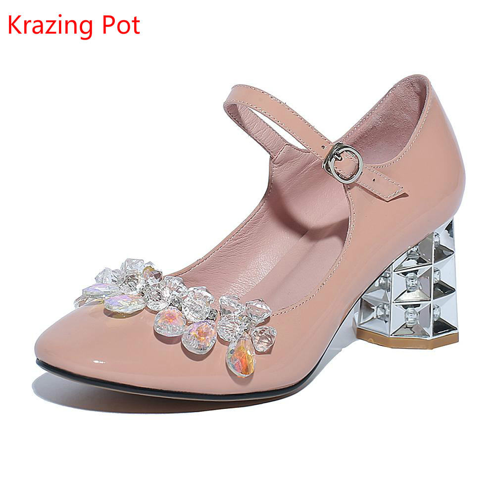 New Fashion Large Size Brand Crystal Party Wedding Strange Style High Heel Women Pumps Sweet Mary Janes Causal Office Lady Shoes 2017 new fashion brand spring shoes large size crystal pointed toe kid suede thick heel women pumps party sweet office lady shoe