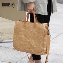 Monsisy 여성을위한 새로운 크래프트 종이 쇼핑 가방 핸드백 큰 토트 2019 숙녀 어깨 가방 복고풍 대용량 메신저 가방