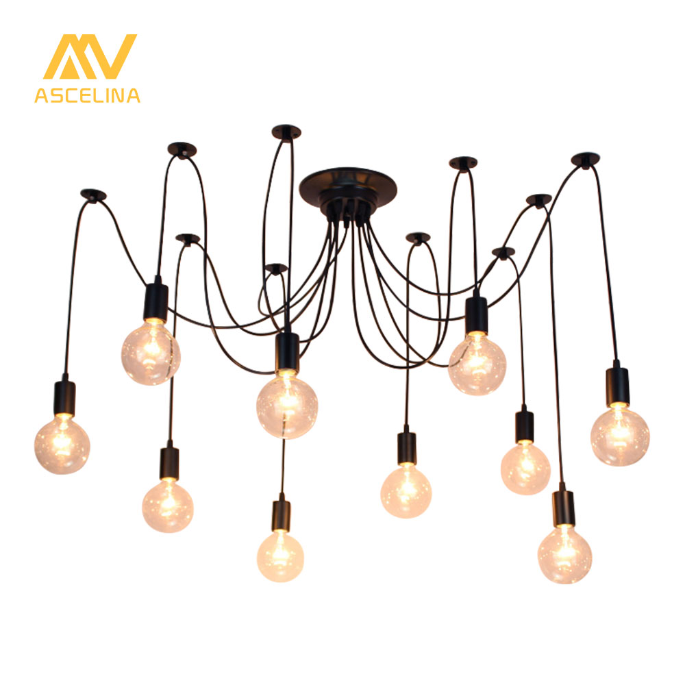 Retro Loft Spider Pendant Light Adjustable Vintage Pendant Lamps Industrial Nordic Ceiling Lamps Edison Light Bulb Loft Classic nordic vintage chandelier lamp pendant lamps e27 e26 edison creative loft art decorative chandelier light chandeliers ceiling