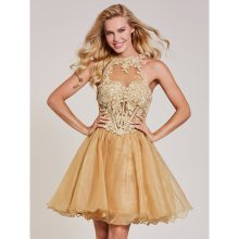 Dressv коктейльное платье с аппликацией цвета шампанского, с бретельками на шее, без рукавов, длиной до колена, ТРАПЕЦИЕВИДНОЕ ПЛАТЬЕ для девушек, Короткие коктейльные платья для выпускного вечера