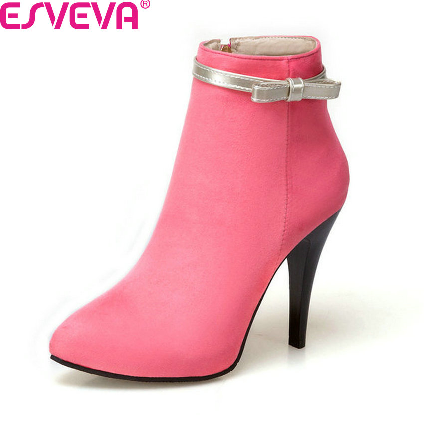 ESVEVA 2018 Women Boots Flock Pointed Toe Thin High Heel Ankle Boots Elegant Butterfly Knot Ladies Boots Party Shoes Size 34-43 new flock high big size 11 12 women shoes wedges pointed toe woman ladies butterfly knot casual spring autumn sweet single shoes