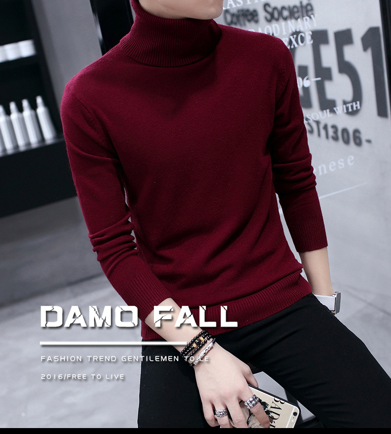 Pull homme coréen col haut pull homme chemise bottoming pull jeunesse