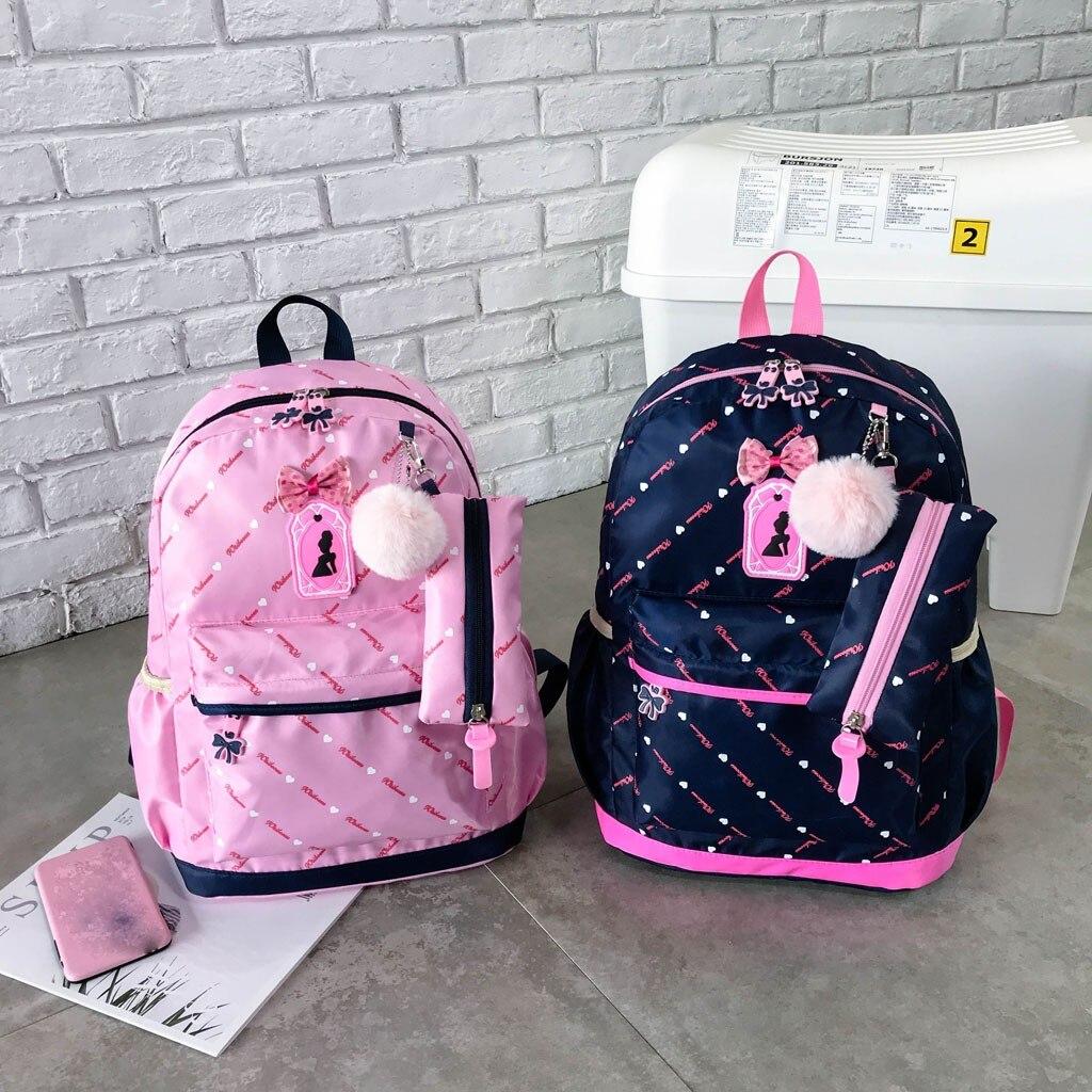 Women Bow Canvas Three-piece School Bag 35