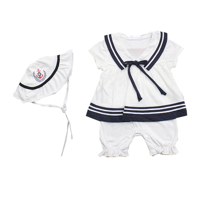 Newborn Kids Baby Girls 2018 Summer Clothes Sets Princes Navy Style Rompers+Cap 2pcs Girl Clothing Cotton Fashion Bebes Outfits