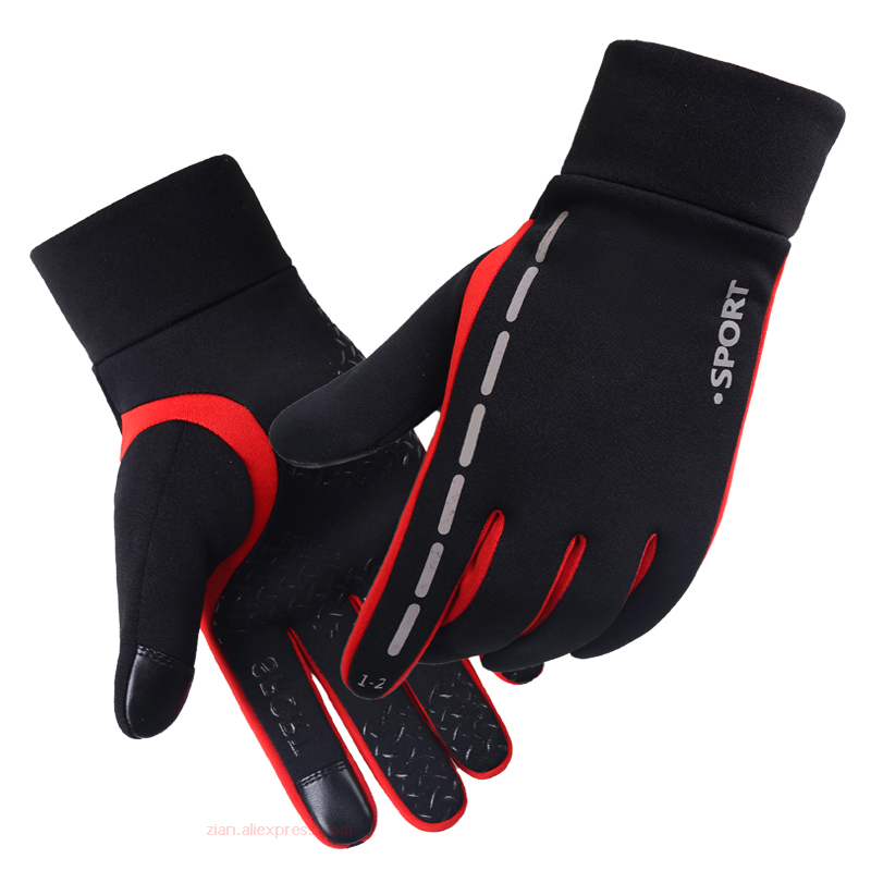 Riding Gloves For Men&women Touch Screen Windproof Warm Non-slip Reflective Waterproof Outdoor Sports Plus Velvet Winter Gloves