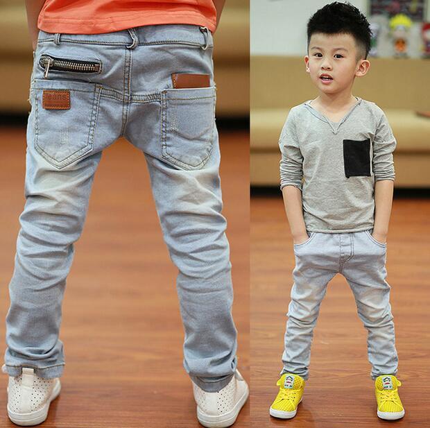 Новый стиль Светлый цвет мягкий джинсовые мальчики джинсы 2016 Весна Осень мода дети жан для возраста от 3 до 13 лет