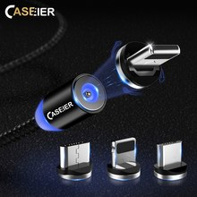 CASEIER LED Magnetic Cable For Micro usb Type C Fast Charging iPhone XS MAX X 1m 2A Magnet Charger Cavo Chargeur kabel