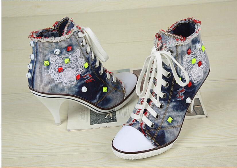 Hellblau Damen Schuhe Denim High Heels Jean Zip Stiefeletten Größe Mode Boots