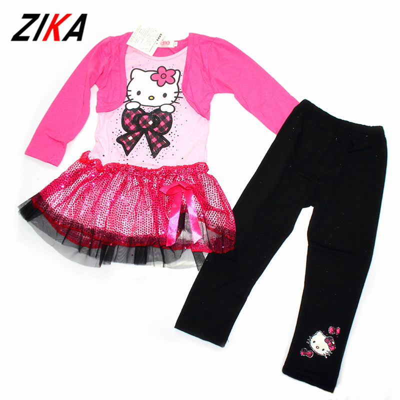 Children Clothing Set Brand Hello Kitty Sequin Tops Lovely Cat Pattern Long Sleeve T-shirts Black Pants Baby Girl Clothes 2Years