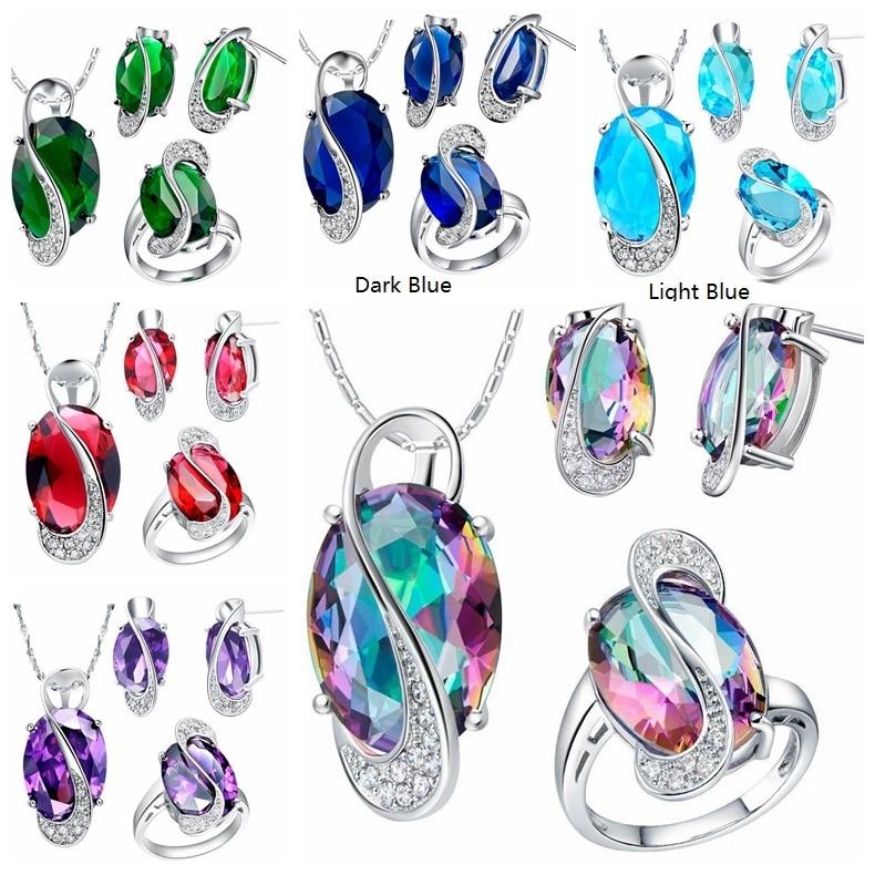 Almei 50% popusta Modni privjesak Naušnice Prsten Kristalno Srebrna - Modni nakit - Foto 4