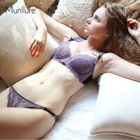 Munllure חזיית תחרה סקסית שקוף דק במיוחד תחתונים נשיים סט חזיית נשים לדחוף את החזייה בתוספת מכירה חמה גודל