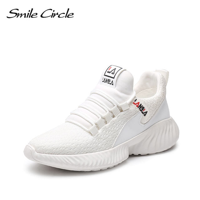 Smile Circle Women Shoes knitting Sneakers Flat Platform shoes Women  Breathable Lightweight Outdoor Casual Ladies shoes 2019 4fab198b77cd