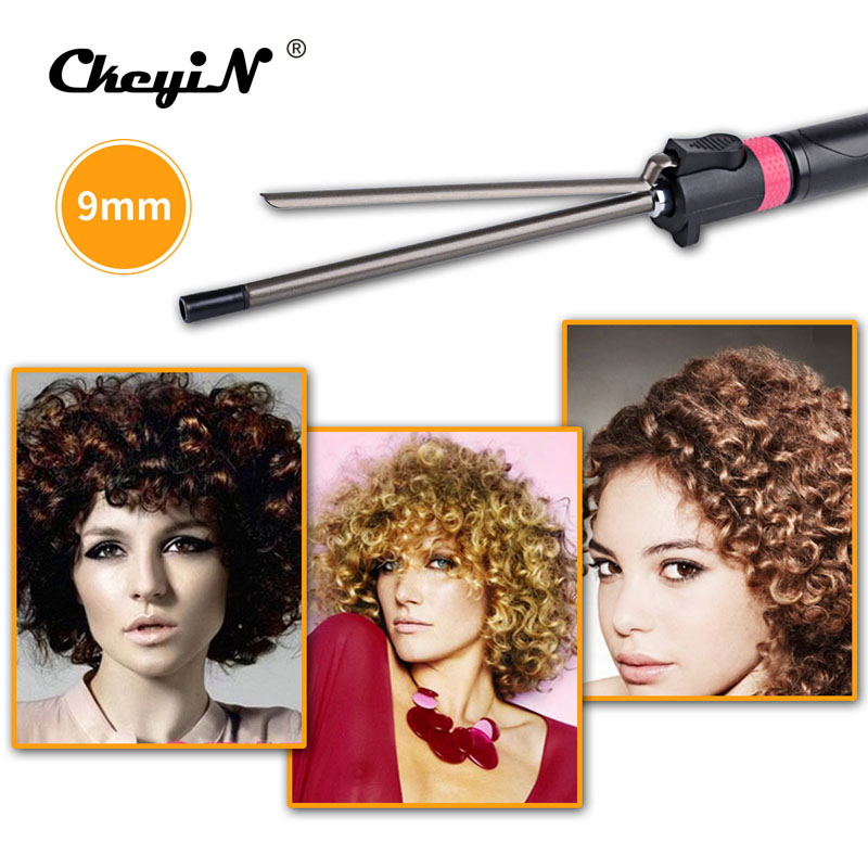 9mm Rotating Hair Curler Titanium Curling Iron Wave Wand Machine Curly Hair Weave Styler Sticks Machine Magic Salon Roller