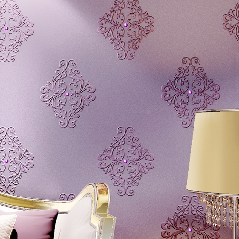 beibehang silk embroidery wallpaper 3D stereo diamonds European non - woven living room bedroom TV background wall paper beibehang embroidery wallpaper european