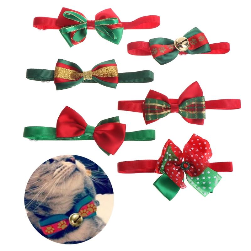 Christmas Pet Dog Cat Bell Bow Tie Necktie Dog Collar Puppies Cachorro Kitty New Year 2017 Navidad Party Outfit Cat Accessories