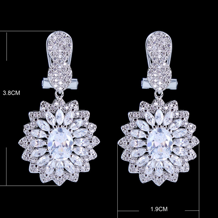 Elagant Oval Shaped Flower Drop Earrings For Women S Gift Pave Setting Top Quality Aaa Cubic Zirconia Diamond Free Shipping In From Jewelry