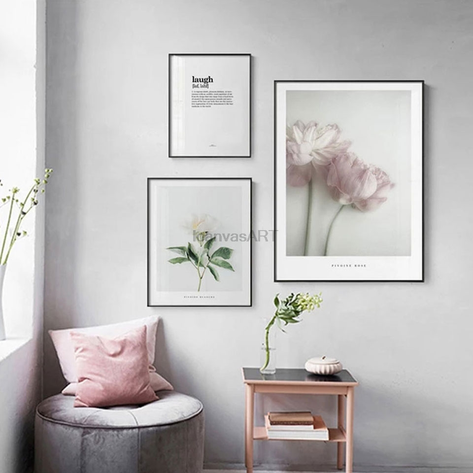 Nordic Flower Posters Prints Pink Peony Canvas Painting For Living Room Scandinavian Minimalist Wall Picture Home Decor No Frame