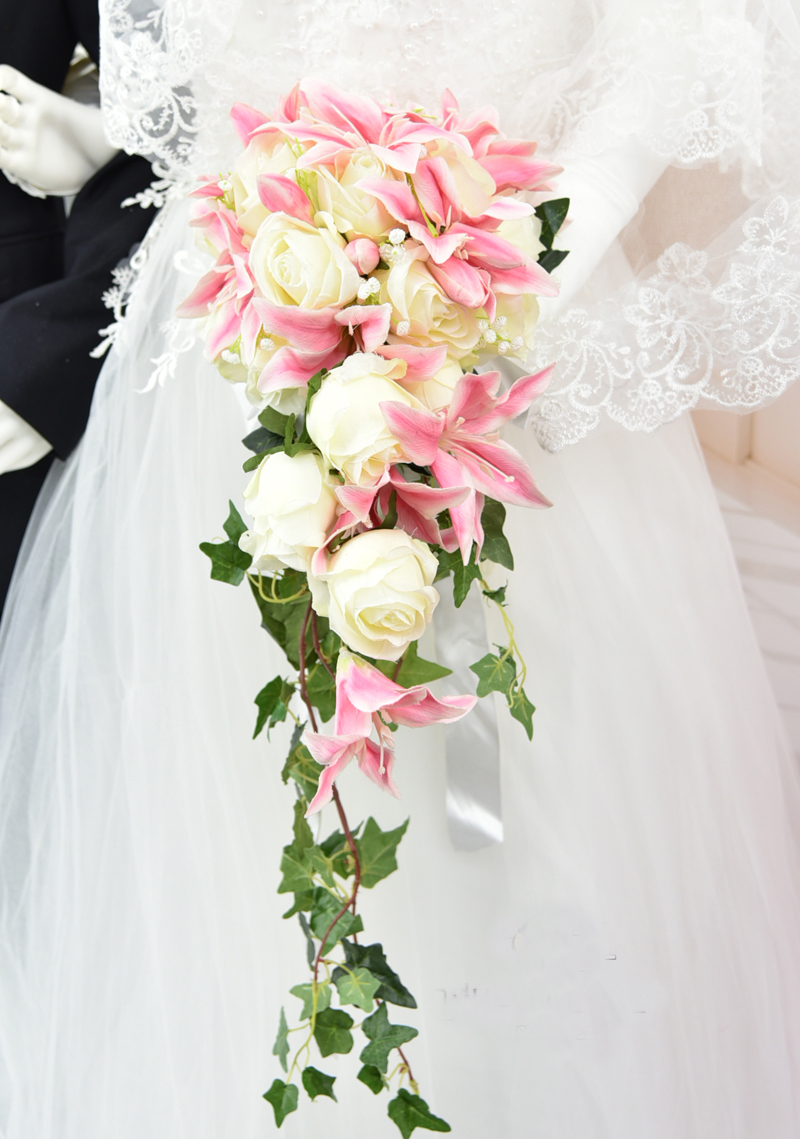 701e39d4459f5 US $53.2 5% OFF|Waterfall Style Wedding Flower Bridal Bouquet Artificial  Flowers Lily Rose Handmade Wedding Floral Bride Hand Holding Bouquets-in ...