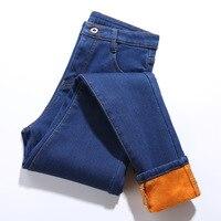 WKOUD 2018 Winter New Pants Korean Skinny Jeans Solid Thickening Warm Denim Trousers Plus Size Fleeces Jeans Pants Women P8570