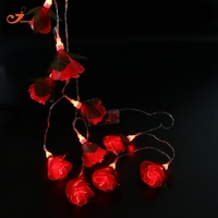 Red Rose Fairy Lights 10pcs LED Gallica Girl Room Decor String Light For New Year Decoration