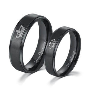 2019 New Fashion Stainless Steel Couple Rings Her King and His Queen Wedding Rings
