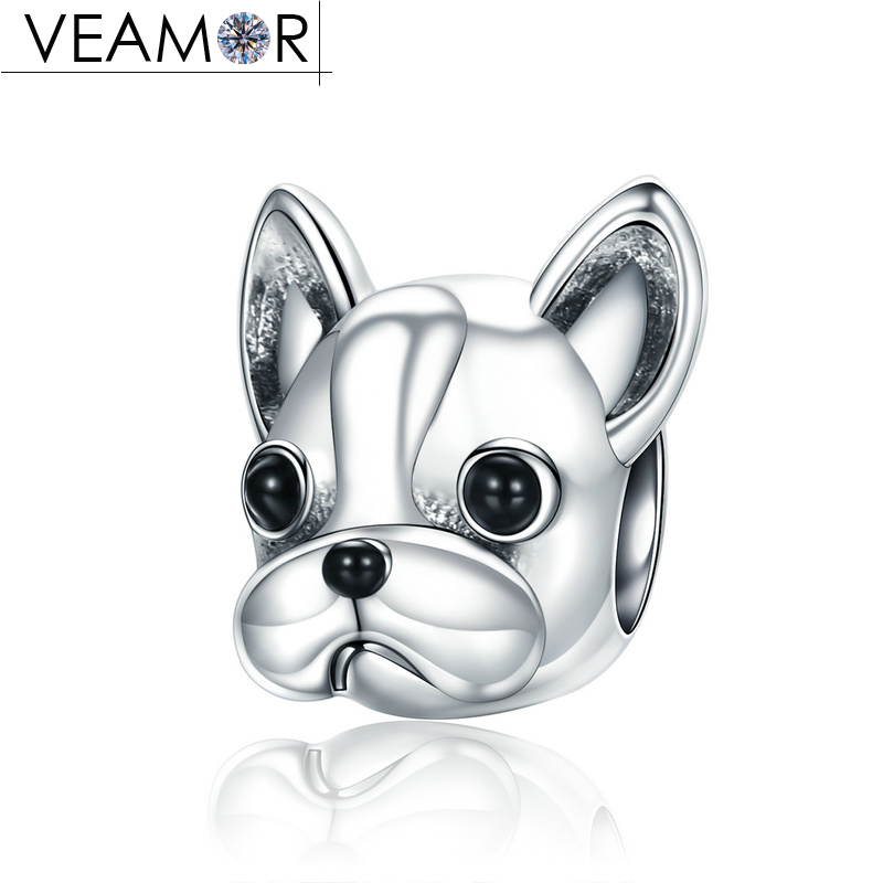 VEAMOR Genuine 925 Sterling Silver Black Enamel French Bulldog Doggy Animal Charms Beads Fit Pandora Bracelet DIY Jewelry Making strollgirl car keys 100% sterling silver charm beads fit pandora charms silver 925 original bracelet pendant diy jewelry making