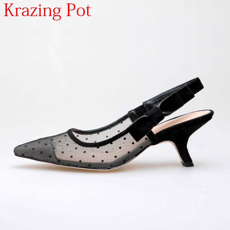 2018 Fashion Air Mesh Pointed Toe High Heels Dot Pattern Buckle Strap Women Pumps Slingback Princess Style Office Lady Shoes L25 cross pattern cosplay lolita shoes women fashion pumps 2017 new arrivals round toe princess high heels t strap free shipping