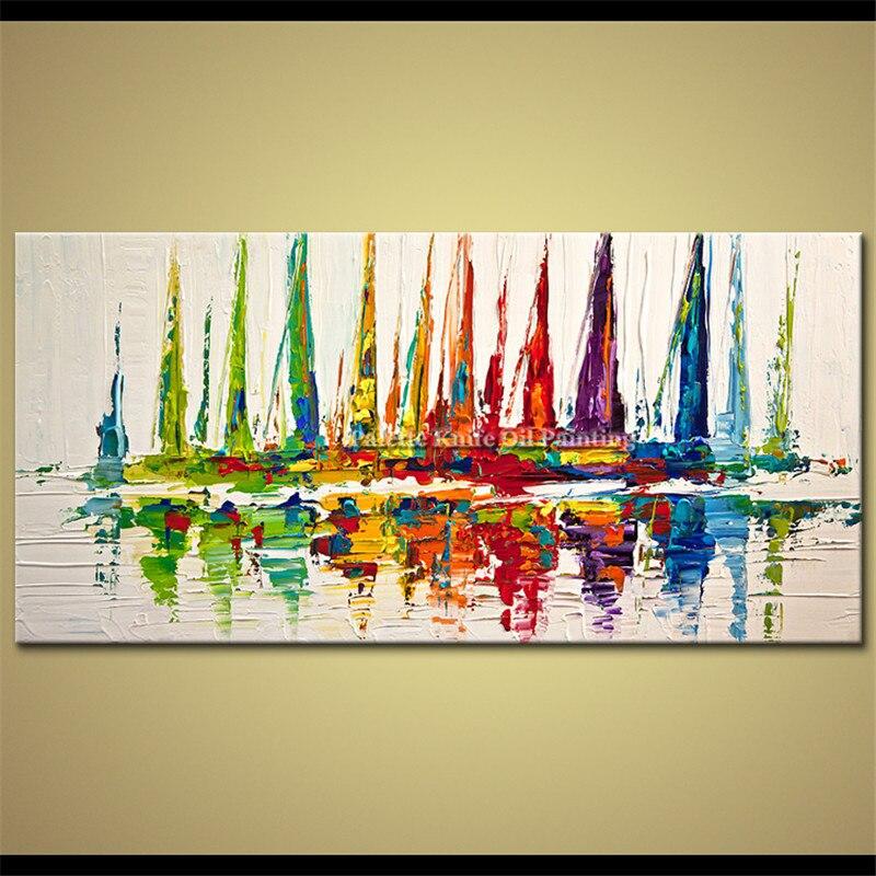 Ručně malované olejomalby na plátně Nástěnné malby Obrazy do obývacího pokoje Velké Levné moderní abstraktní olejomalba loď loď plující 4