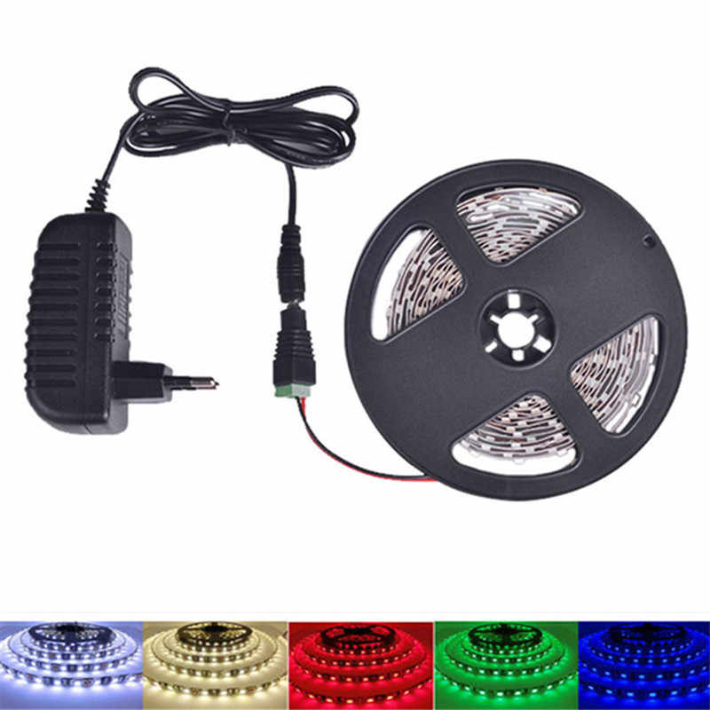 LED Strip Lampu 1M 3M 5M RGB SMD 2835 12V Fleksibel Pita LED dengan Uni Eropa/ kami + Power Switch Supply 2A, hangat Putih, Putih, Merah, Biru, Hijau
