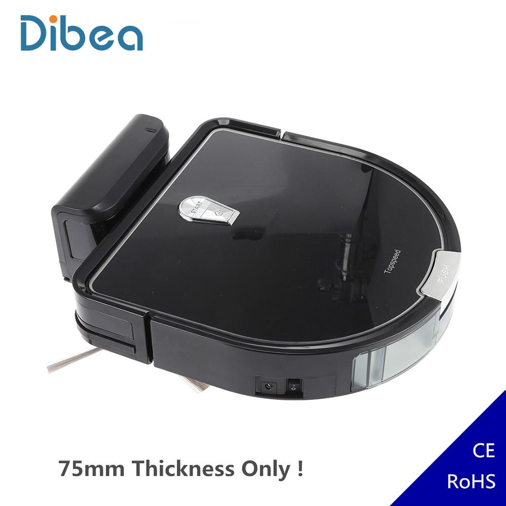 Dibea Robot aspirateur intelligent D960 aspirateur mince Robot 75mm avec nettoyage humide pour tapis de poils d'animaux de compagnie planchers canapé sous le lit