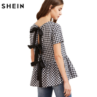 SheIn Women Short Sleeve Blouse Black And White Checkered Bow Split Back Peplum Top Plaid Womens