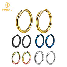2018 New FINE4U E037 Fashion Love Circle Earrings For Women 316L Stainless Steel Hoop Earrings 6 Colors Choices(China)