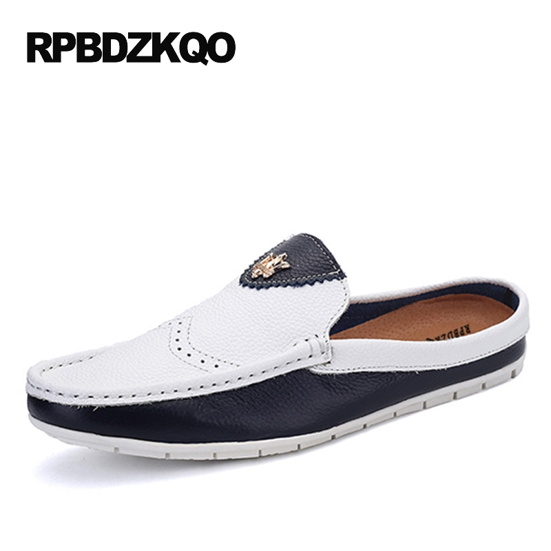 Comfort Mules Men Shoes Casual Fashion Half Black And White Patchwork Slip On Summer Slip-ons Breathable Moccasins Blue Stylish stylish men s casual shoes with breathable and metal design