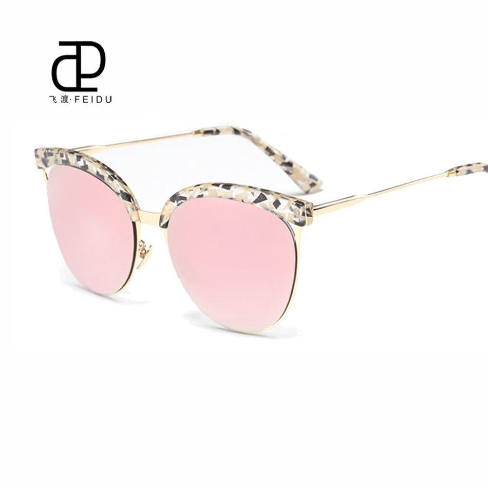 502e18e97 FEIDU 2016 Estilo de Gradiente de Moda óculos de Sol olho de Gato Mulheres  Óculos De Sol de Verão Celebridade Mesmo Parágrafo Meia Armação Oculos de  sol