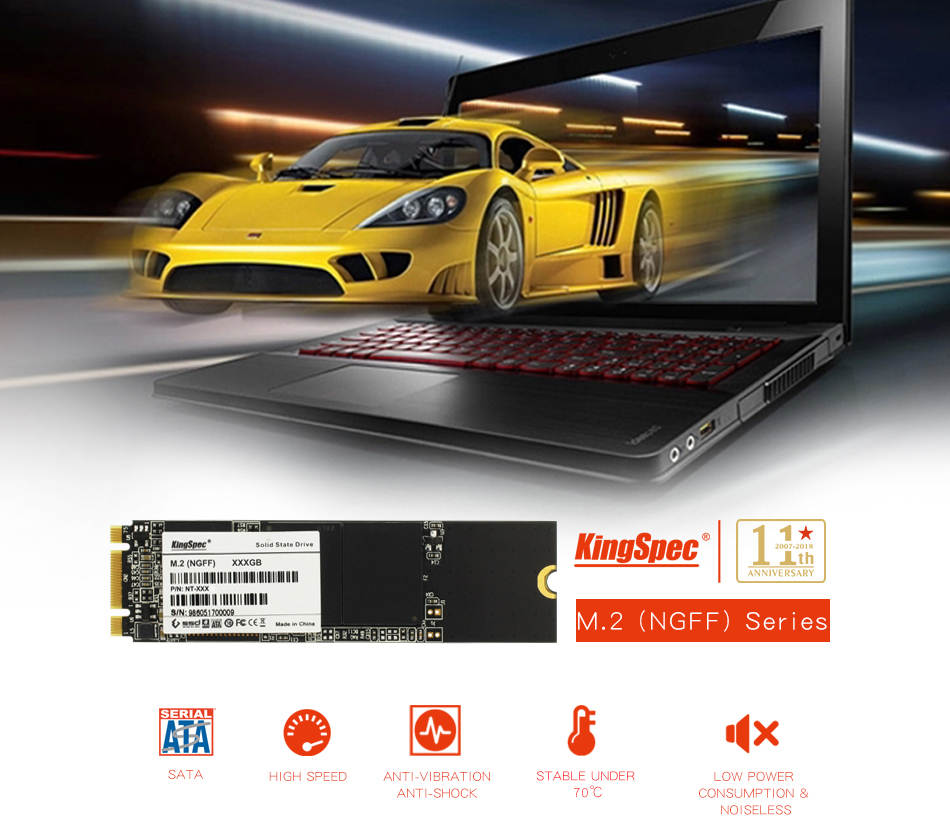 kingspec 80*22mm slim NGF M.2 SATA hd ssd 128GB 256GB 512GB 1TB 2TB Solid State Drive for Thinkpad For IMB For SONY image