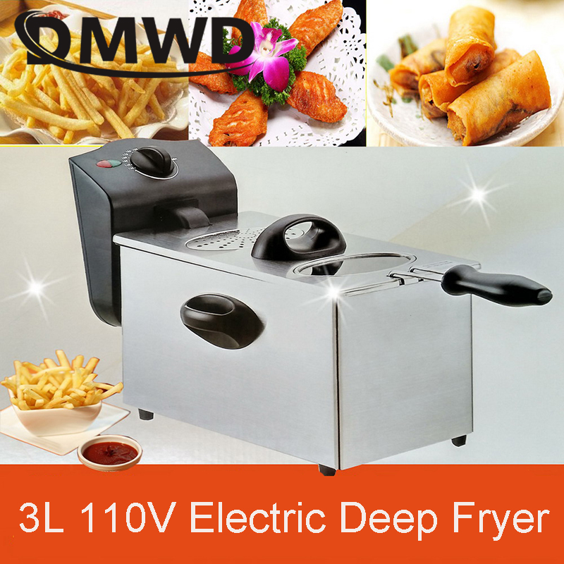 DMWD Electric deep fryer Stainless steel commercial fryer household chips Frying Pan French Fries making machine 110V 220V