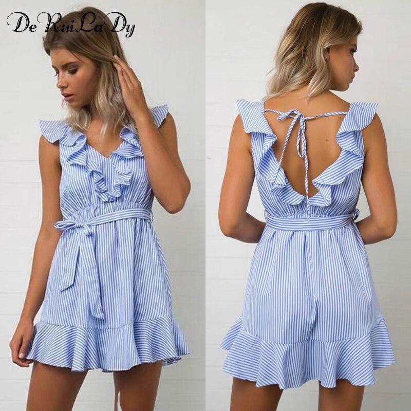 DeRuiLaDy 2017 Women Summer Casual Dress Ruffles V Neck Sleeveless High Waist Slim Blue Striped Dresses