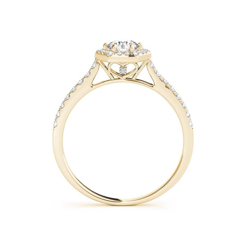 QYI Donna Design Unico Simulato anello di nozze di Diamante 14 k oro Giallo Anniversario di Fidanzamento Halo Anelli - 4