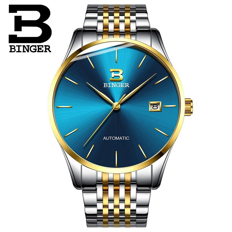 Szwajcarski zegarek Binger mężczyźni luksusowej marki zegarki męskie automatyczne mechaniczne męskie zegarki Sapphire relogio ruch japonii B5075M7 w Zegarki mechaniczne od Zegarki na  Grupa 2
