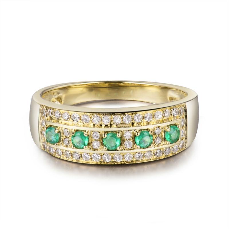 18 Karat Gelbgold Grün Smaragd Ring Natürlicher Diamant Hochzeit - Edlen Schmuck - Foto 2