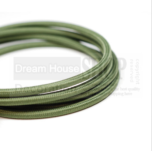 Free shipping 100meters lot olive green color round fabric wire 2 0 75mm textile cloth cover